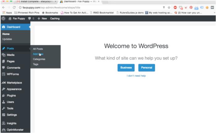 add new wordpress post